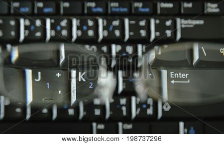 computer notebook keyboard through far sight eyeglasses