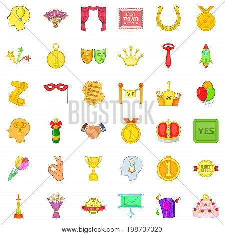Trophy icons set. Cartoon style of 36 trophy vector icons for web isolated on white background