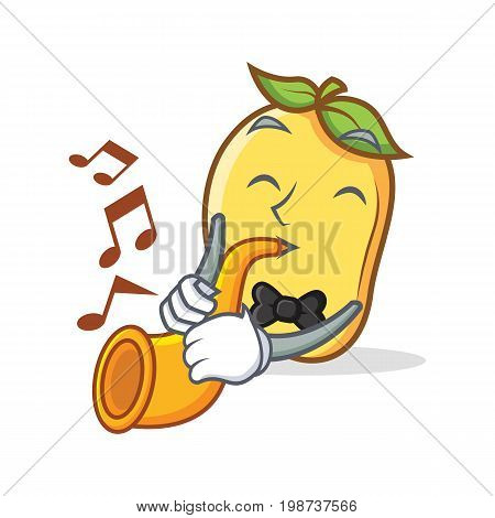 mango character cartoon mascot with trumpet vector illustration