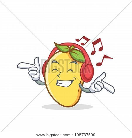 Listening music mango character cartoon mascot vector illustration