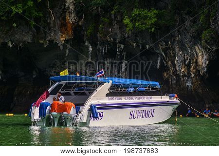 Canoeing at Koh Hong IslandPhang-Nga, Thailand Thailand 21 MAY 2017 : Tourist Canoeing Program at the famous island :- Koh Hong Phang-Nga Bay near Phuket, Andaman Sea.