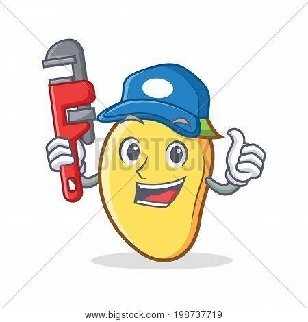 Plumber mango character cartoon mascot vector art