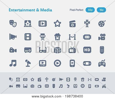 Entertainment And Media - Ants Icons  A set of 28 professional, pixel-perfect vector icons designed on a 32x32 pixel grid and redesigned on a 16x16 pixel grid for very small sizes.
