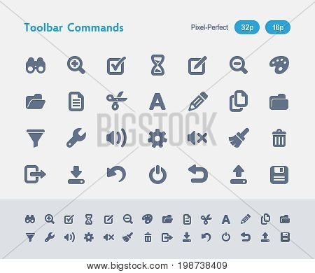 Toolbar Commands - Ants Icons  A set of 28 professional, pixel-perfect vector icons designed on a 32x32 pixel grid and redesigned on a 16x16 pixel grid for very small sizes.