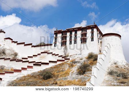 The Potala palace wall in Lhasa, Tibet and the blue sky