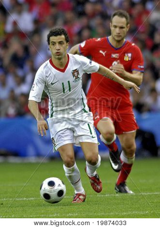 GENEVE - JUNE 11: Simao Sabrosa of Portugal n.11 and Jan Polak of Czech Republic n.3 during the match Czech Republic - Portugal 1:3 Euro2008 Group A June 11, 2008, Stade de Geneve, Geneve, Switzerland