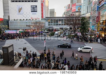 People At Shibuya Crossing In Tokyo, Japan