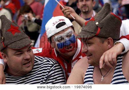 SALZBURG - JUNE 14:  Russian National Team's fans during the match Greece-Russia during the Euro2008 Group D. June 14, 2008, in Salzburg, Austria