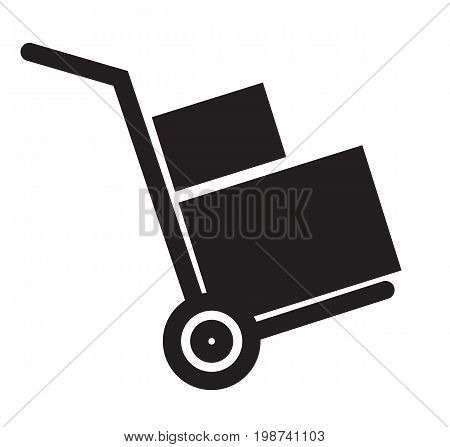 handcart icon on white background. flat style design. handcart sign.
