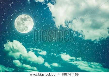 Night Sky With Full Moon And Cloudy, Serenity Nature Background. Cross Process