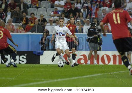 INNSBRUCK - JUNE 10: Konstantin Zyryanov of Russia Football National Team during the match Spain-Russia 4:1 Euro2008 Group D. June 10, 2008, in Innsbruck, Austria