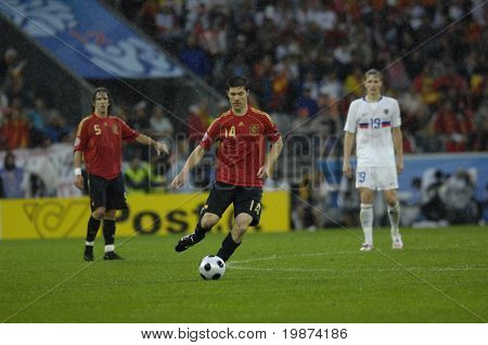 INNSBRUCK - JUNE 10: Xabi Alonso of Spain Football National Team during the match Spain-Russia 4:1 Euro2008 Group D. June 10, 2008, in Innsbruck, Austria