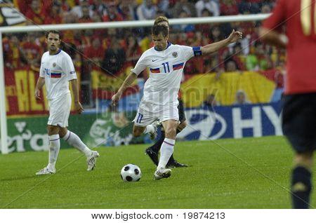 INNSBRUCK - JUNE 10: Sergei Semaksergei, semak of Russia Football National Team during the match Spain-Russia 4:1 Euro2008 Group D. June 10, 2008, in Innsbruck, Austria