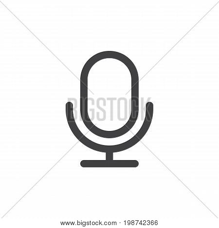 Old microphone line simple icon, outline vector sign, linear style pictogram isolated on white. Record audio symbol, logo illustration. Editable stroke. Pixel perfect vector graphics