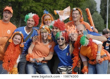 BERN - JUNE 9: Holland football team fans before Holland - Italy match. UEFA EURO 2008 GROUP C.  June 9, 2008 in Bern, Switzerland.