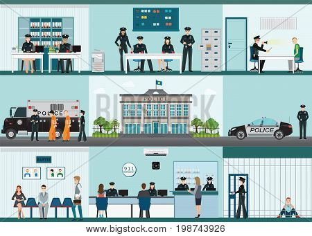 Modern Police station building and interior set with office room witness interview room prison cell receiving desk and prison bus flat design vector illustration.