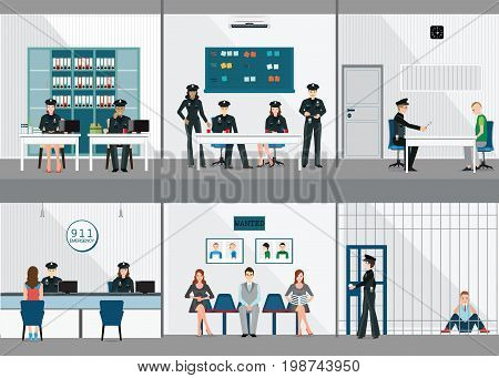 Police station interior set with office room witness interview room prison cell and receiving desk flat design vector illustration.