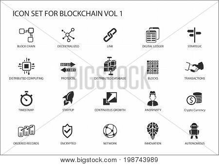 Blockchain vector icon set with reusable symbols
