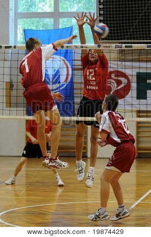 KAPOSVAR, HUNGARY - MAY 28: An unidentified player strikes the ball in the final of the hungarian national junior league (Kaposvar vs Veszprem) , May 28, 2009 in Kaposvar, Hungary