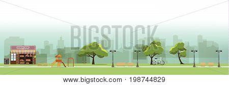 nature landscape with gardenpublic park bakery shopamusement park vector illustration