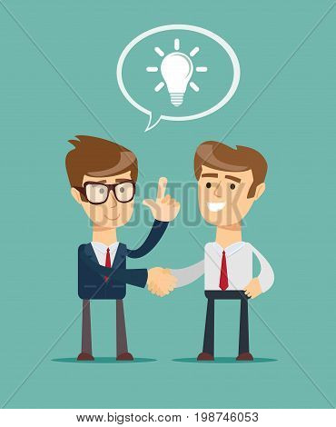 Cartoon big idea character shaking hand with a man. Stock vector illustration for poster, greeting card, website, ad, business presentation, advertisement design.