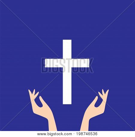 vector illustration of praying hands and cross