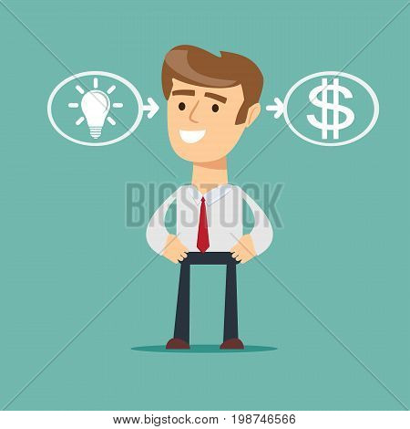 businessman with ideas - the process of finding a solution. Stock vector illustration for poster, greeting card, website, ad, business presentation, advertisement design.