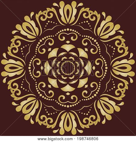 Elegant golden round ornament in classic style. Abstract traditional pattern with oriental elements, Classic vintage pattern