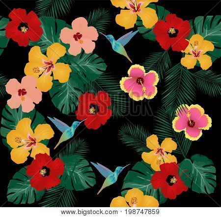 vector illustration of hummingbird and flowers seamless background