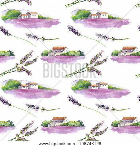 Lavender field with rural provencal house in Provence, France. Seamless background. Watercolor