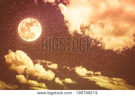 Beautiful cloudscape with many stars. Night sky with bright full moon and cloudy serenity blue nature background. Outdoor at nighttime with moonlight. Sepia tone. The moon taken with my own camera.