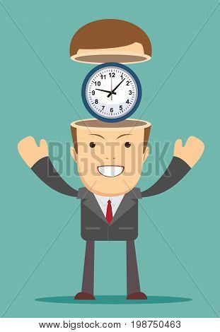 time management concept. Open minded man with clock inside. Conceptual image .Stock vector illustration for poster, greeting card, website, ad, business presentation, advertisement design