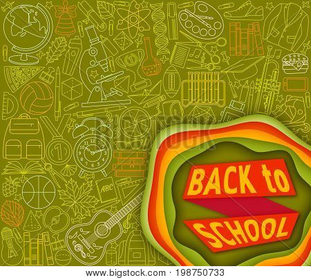 Back to school abstract background with paper cut shapes. Modern origami design template. Vector illustration.