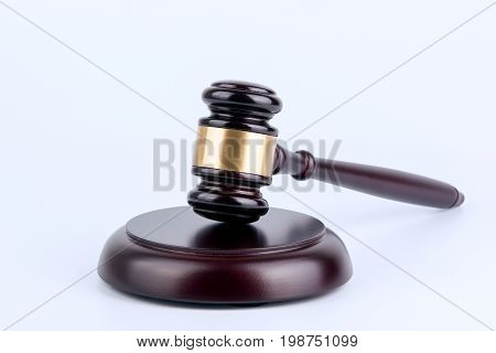 Wooden gavel on a white background. Law and justice concept.