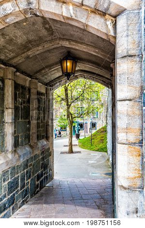 Quebec City Canada - May 29 2017: Saint John's Gate Fortress entrance to old town street closeup