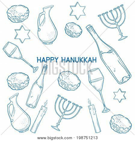 Set of Happy Hanukkah designed elements with candlestick, star of David, torah, menorah, dreidel and gifts