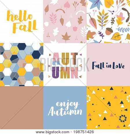 Set Of Vector Greeting Posters About Autumn. Seamless Abstract Pattern, Illustration And Seasonal Le