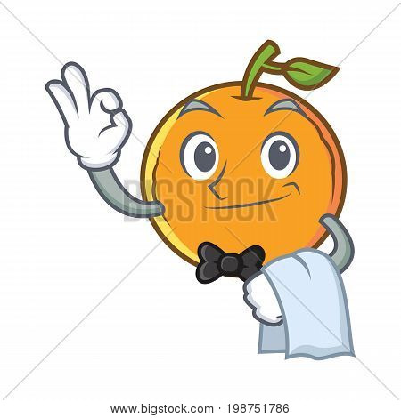 Waiter orange fruit cartoon character vector illustration