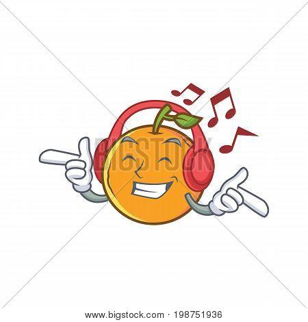 Listening orange fruit cartoon character vector illustration
