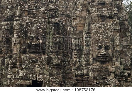 Faces of Bayon temple in Angkor Thom Siemreap Cambodia.ancient of Prasat Bayon temple Angkor Thom is popular tourist attraction in Siem reap Cambodia