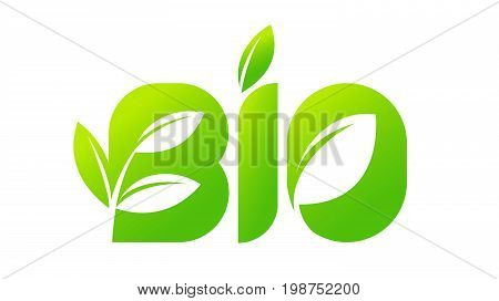 Emblem of BIO, organic, natural green logo with a leaf of a plant sprout for a tag, label, packaging, badge or icon of natural food, beverages, cosmetics. Vector illustration.