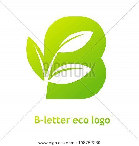 B letter eco logo isolated on white background. Organic bio logo with a leaf of sprout grass for corporate style of company or brand on letter B.