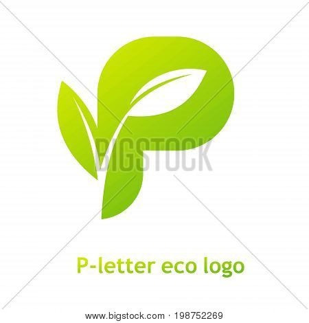 P letter eco logo isolated on white background. Organic bio logo with a leaf of sprout grass for corporate style of company or brand on letter P.
