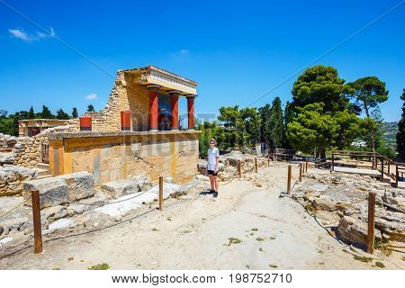 Scenic ruins of the Minoan Palace of Knossos on Crete Greece
