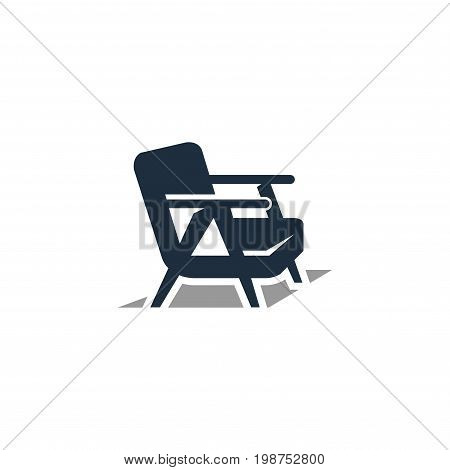 chair icon vintage. navy blue monochrome illustration of wood chair vector icon,eps8,eps10