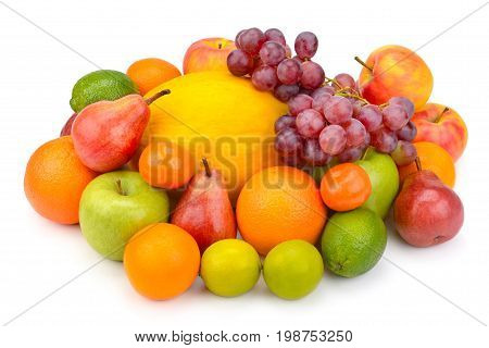 fruit and berries isolated on white background