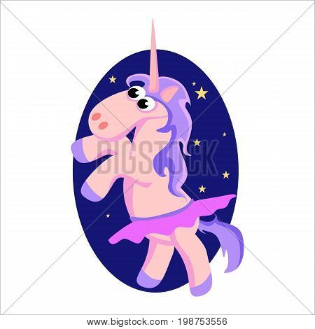 cute unicorn isolated set, magic pegasus flying with wing and horn on rainbow, fantasy horse vector illustration, myth creature dreaming on white background.