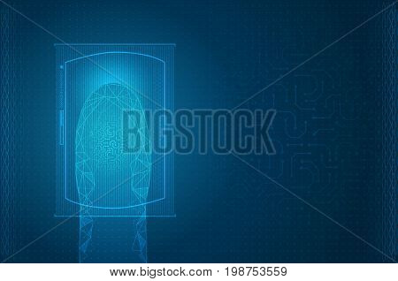 Futuristic digital processing of biometric fingerprint scanner Interface technology future background
