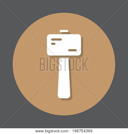 Wooden mallet flat icon. Round colorful button, circular vector sign, logo illustration. Flat style design