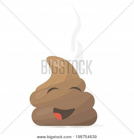 Poop or Shit emoji or smiling happy character icon. Poo cartoon styled mascot.